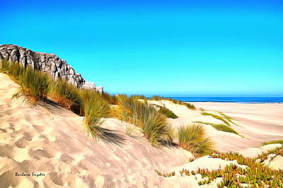 Clear Sky Painting - The Dunes At Morro Bay California by Barbara Snyder