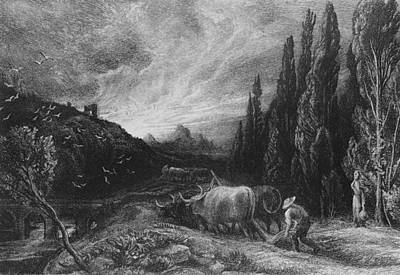 The Early Plowman Print by Samuel Palmer