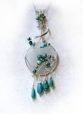 Wire Wrap Jewelry Sculpture - The Earth And Sky And Sea by Rhonda Chase