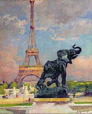 The Eiffel Tower And The Elephant By Fremiet Print by Jules Ernest Renoux
