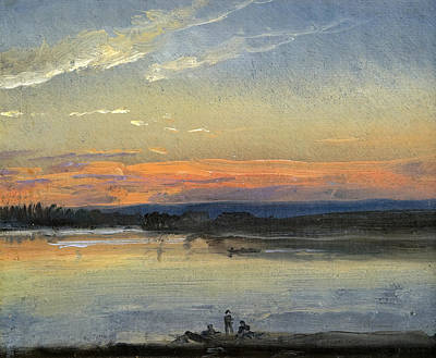 Johan Christian Dahl Painting - The Elbe In Evening Light by Johan Christian Dahl