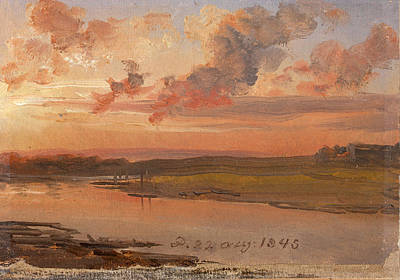 Johan Christian Dahl Painting - The Elbe In The Evening by Johan Christian Dahl