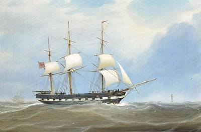 The Eliza Stewart Under Reduced Sail In The Channel Print by William Clark