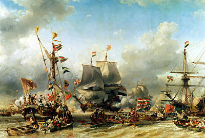 An Island Painting - The Embarkation Of Ruyter And William De Witt In 1667 by Louis Eugene Gabriel Isabey