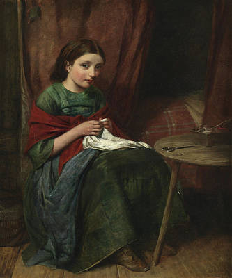 Bed Painting - The Embroideress by Edward John Cobbett