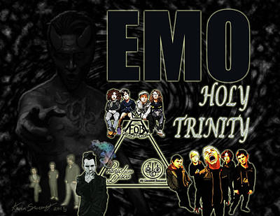 Alternative Rock Band Drawing - The Emo Holy Trinity by Kevin Sweeney