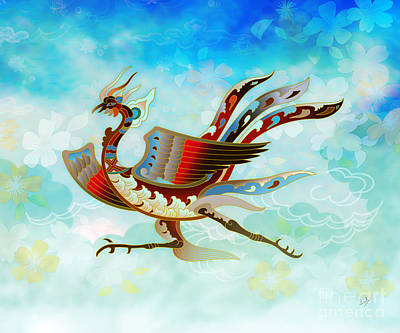 Phoenix Mixed Media - The Empress - Flight Of Phoenix - Blue Version by Bedros Awak