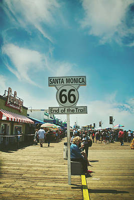 Santa Monica Pier Photograph - The End Of Sixty-six by Laurie Search