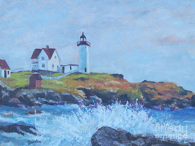 Cape Neddick Lighthouse Painting - The End Of Summer- Cape Neddick Maine by Alicia Drakiotes
