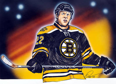 Hockey Drawing - The Enforcer  by Dave Olsen