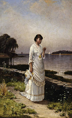 Flower Ring Painting - The Engagement Ring by Alfred Thompson Bricher