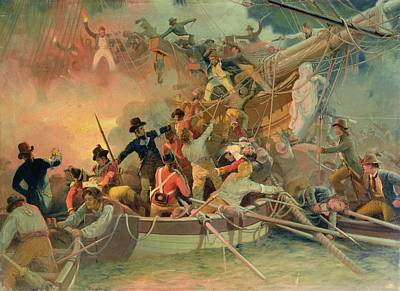 The English Navy Conquering A French Ship Near The Cape Camaro Print by English School