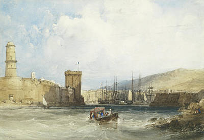 The Entrance To The Harbor Of Marseilles Print by William Callow