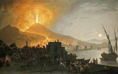 Pietro Fabris Painting - The Eruption Of Vesuvius Of 1767 Seen From The Ponte Della Maddalena Naple by Pietro Fabris