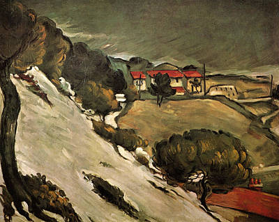 Look Painting - The Estaque, Melting Snow by Paul Cezanne