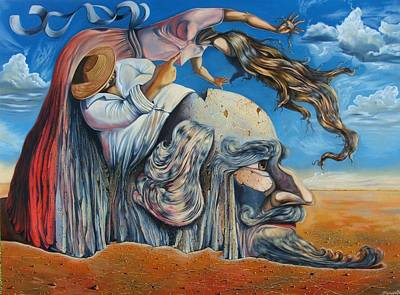 Contemporary Surrealism Drawing - The Eternal Obsession Of Don Quijote by Darwin Leon