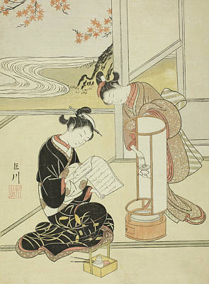 Concubine Painting - The Evening Glow Of A Lamp by Suzuki Harunobu