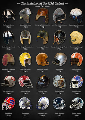 The Evolution Of The Nfl Helmet Print by Taylan Apukovska
