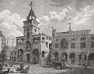 Seventeenth Century Drawing - The Exchange, Newcastle-on-tyne by Vintage Design Pics
