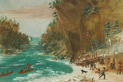 Canoe Waterfall Painting - The Expedition Encamped Below The Falls Of Niagara by Mountain Dreams