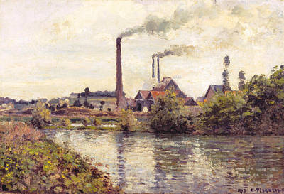 Factory Painting - The Factory At Pontoise by Camille Pissarro