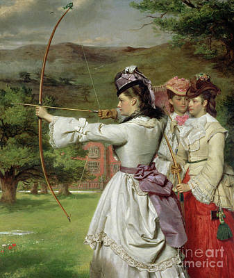 Ground Painting - The Fair Toxophilites by William Powell Frith