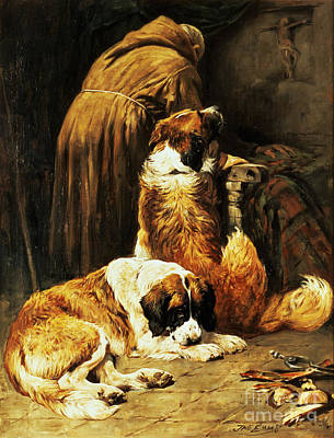 Sleeping Dogs Painting - The Faith Of Saint Bernard by John Emms