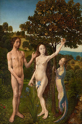 Garden Of Eden Painting - The Fall Of Man And The Lamentation by Hugo van der Goes