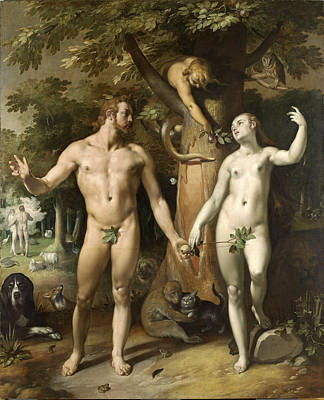 Cornelis Van Haarlem Painting - The Fall Of Man by Cornelis van Haarlem