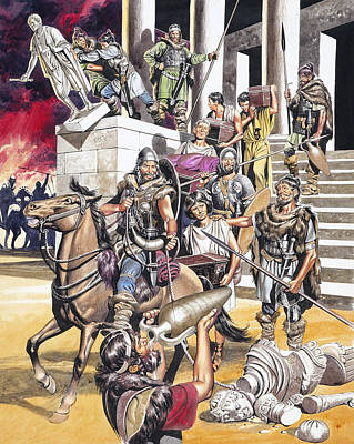 Barbarian Painting - The Fall Of The Roman Empire In The West by Ron Embleton