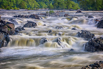 The Falls At Great Falls Park Print by Rick Berk