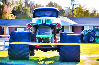 Stadium Crowd Painting - The Famous Monster Truck Grave Digger by Lanjee Chee