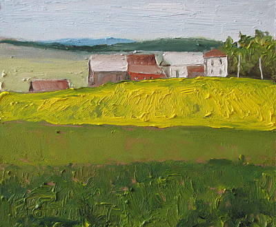 Contry Painting - The Farm On A Dandelion Field Sawyerville Quebec Canada by Francois Fournier