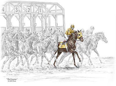 Jockey Drawing - The Favorite - Thoroughbred Race Print Color Tinted by Kelli Swan