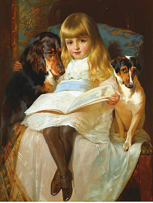 Gordon Setter Painting - The Favourite Story. A Gordon Setter And A Jack-russell by Edwin Douglas