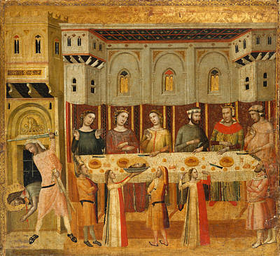 Painting - The Feast Of Herod And The Beheading Of The Baptist by Giovanni Baronzio