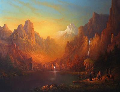 Lotr Painting - The Fellowship Of The Ring Moria by Joe  Gilronan