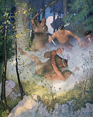 Beating Drawing - The Fight In The Forest by Newell Convers Wyeth