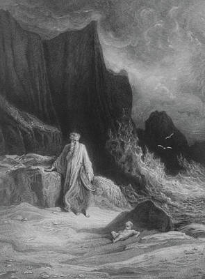 Seagull Drawing - The Finding Of King Arthur by Gustave Dore