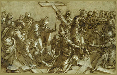 Pietro Malombra Drawing - The Finding Of The True Cross by Pietro Malombra