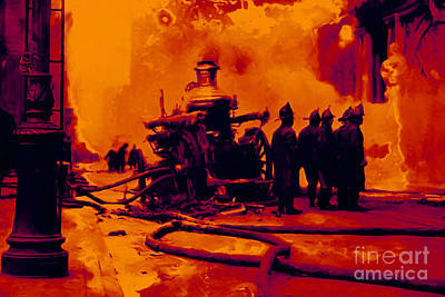 Truck Digital Art - The Fire Fighters - 20130207 by Wingsdomain Art and Photography