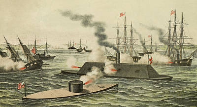 Iron Drawing - The First Battle Between Iron Ships Of War by Henry Bill