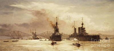 Steam Ships Painting - The First Battle Squadron Leaving The Forth For The Battle Of Jutland by William Lionel Wyllie