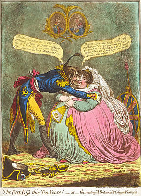 James Gillray Drawing - The First Kiss This Ten Years by James Gillray