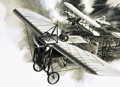 First World War Painting - The First Reconnaissance Flight By The Rfc by Wilf Hardy