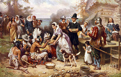 November Painting - The First Thanksgiving by American School
