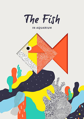 The Fish In Aquarium Print by BONB Creative