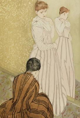 Belle Epoque Drawing - The Fitting by Mary Stevenson Cassatt