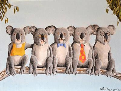 Koala Painting - The Five Koalas by Winton Bochanowicz