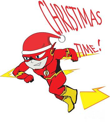 Super Hero Drawings Drawing - The Flash Christmas by Madiaz Roby